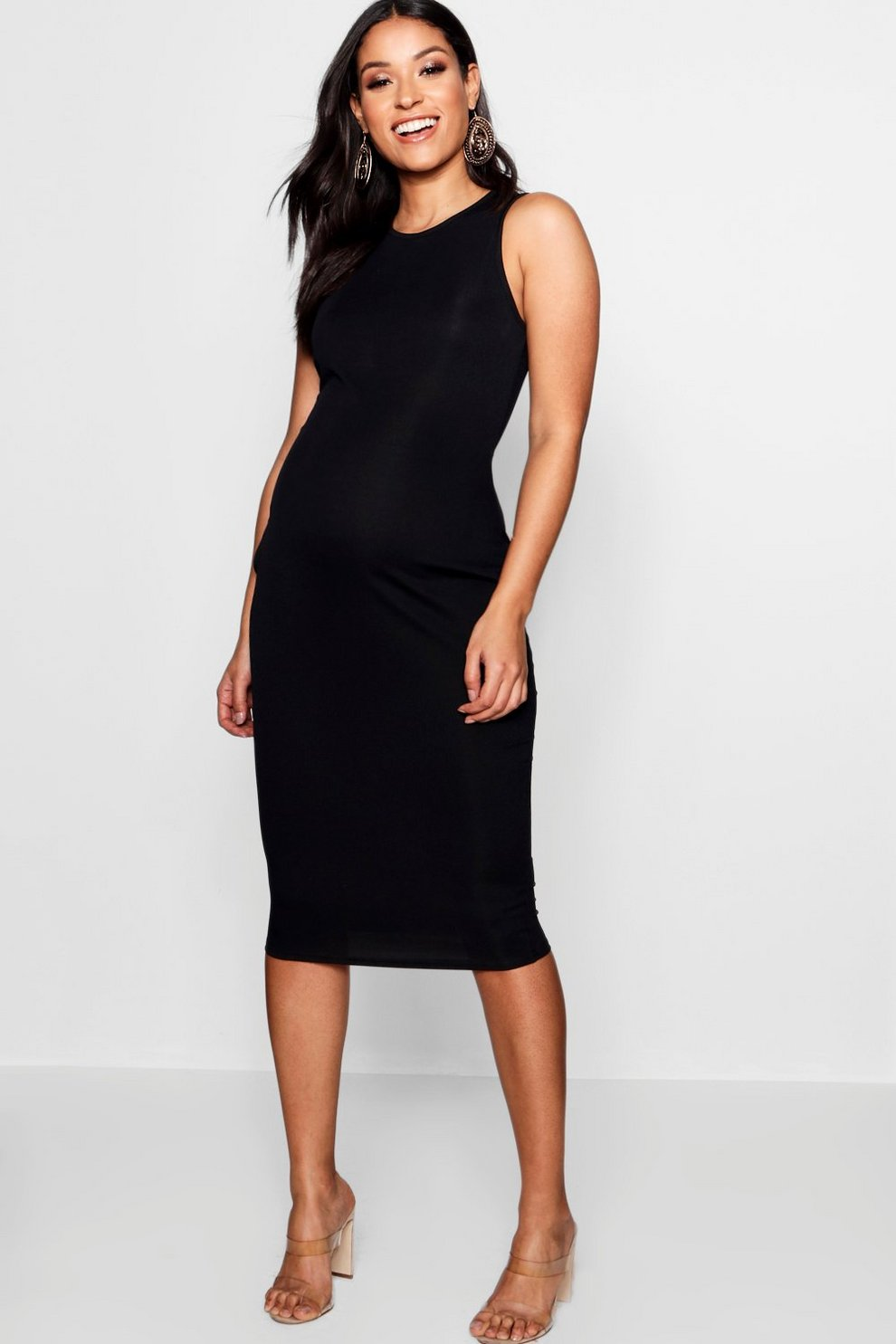 245b4b47193f7 Womens Black Maternity High Neck Ribbed Midi Dress