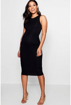 Womens Black Maternity High Neck Ribbed Midi Dress