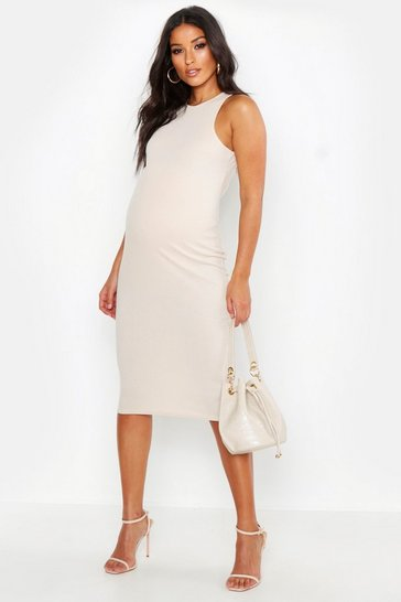 Stone Maternity High Neck Ribbed Midi Dress