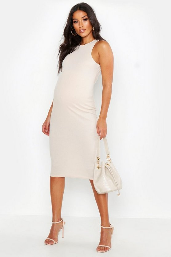 Womens Stone Maternity High Neck Ribbed Midi Dress