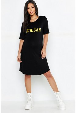 Womens Black Maternity Michigan T-Shirt Dress