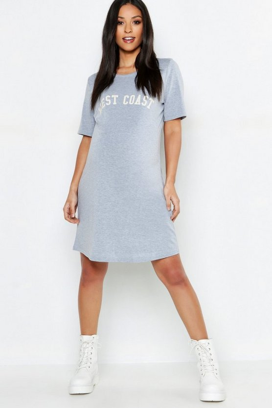 Womens Grey marl Maternity West Coast T-Shirt Dress