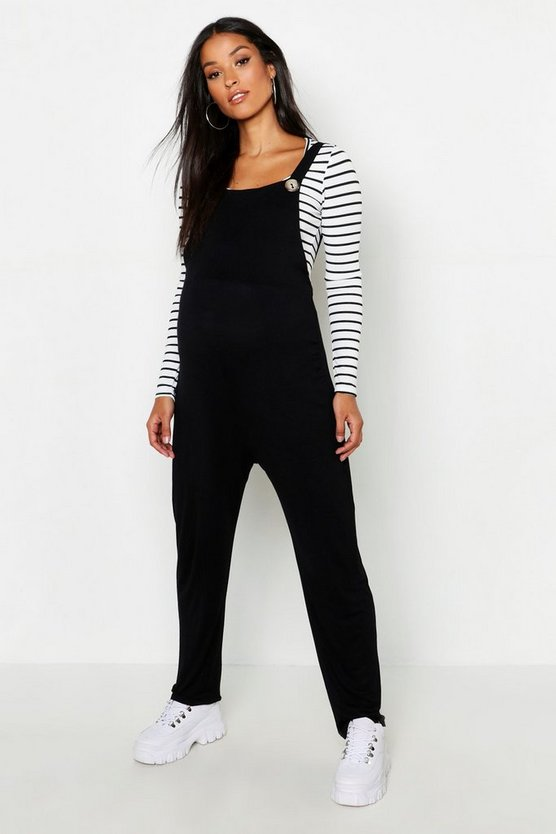 Womens Black Maternity Jersey Lounge Dungaree