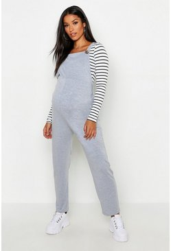 Womens Grey marl Maternity Jersey Lounge Dungaree