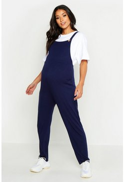 Womens Navy Maternity Jersey Lounge Dungaree