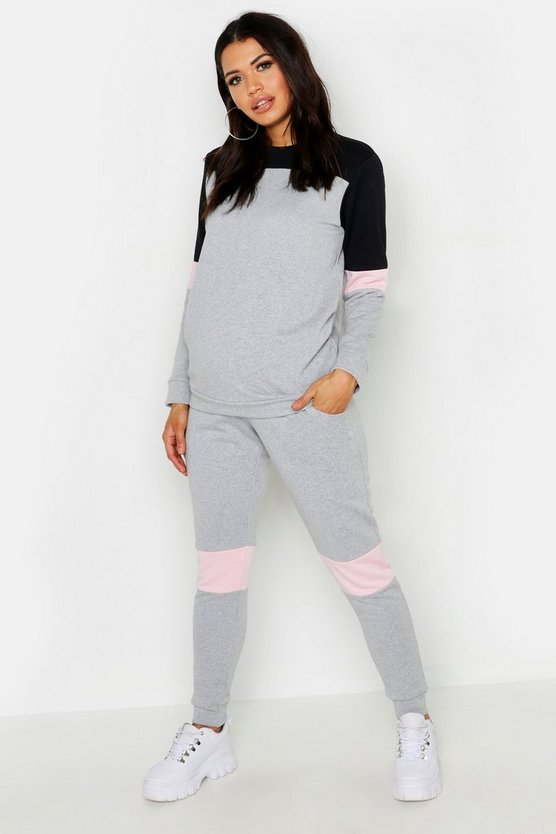 Grey Maternity Contrast Stripe Lounge Set