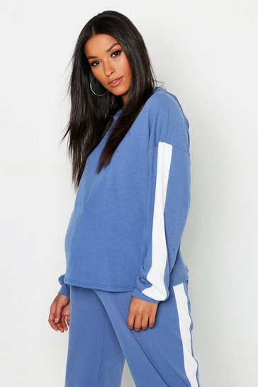 Womens Denim-blue Maternity Rib Contrast Stripe Hoody
