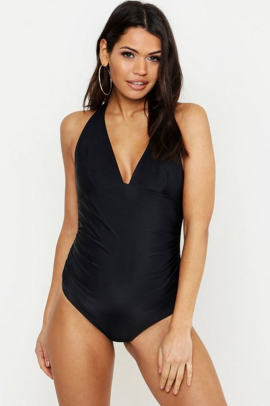 Womens Black Maternity Bump Control Halterneck Swimsuit