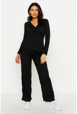 Womens Black Maternity Wrap Tie Waist Rib Lounge Set