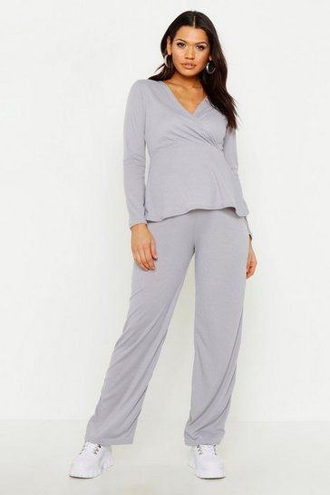 Womens Grey Maternity Wrap Tie Waist Rib Lounge Set