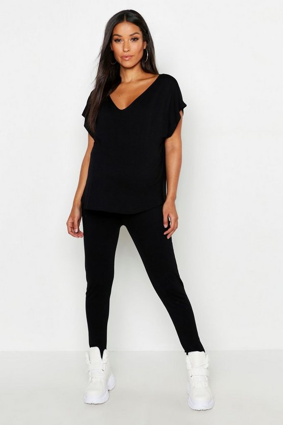 Maternity V-Neck Boxy Top Lounge Set