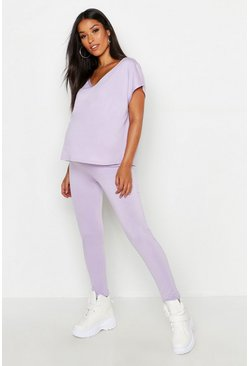 Womens Lilac Maternity V-Neck Boxy Top Lounge Set