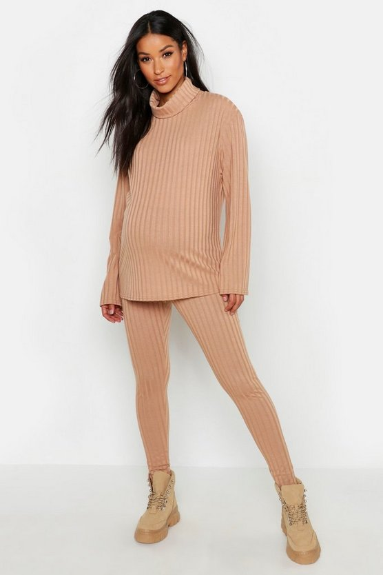 Maternity Rib Roll Neck Lounge Set