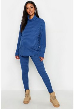 Womens Denim-blue Maternity Rib Roll Neck Lounge Set