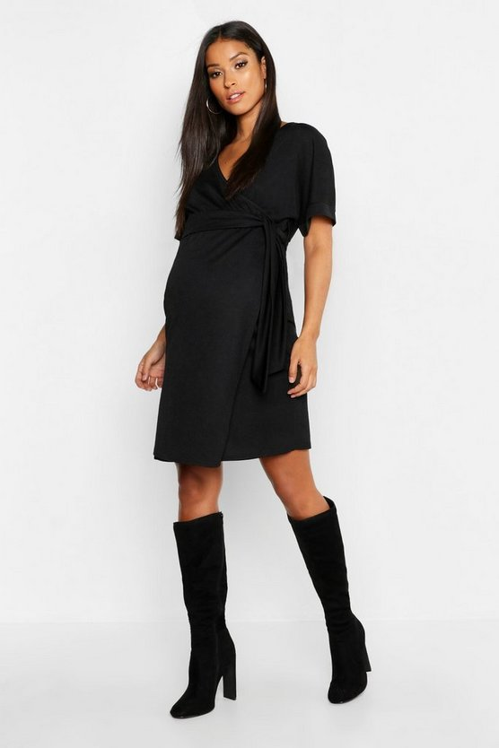 Womens Black Maternity Plunge Wrap Mini Dress