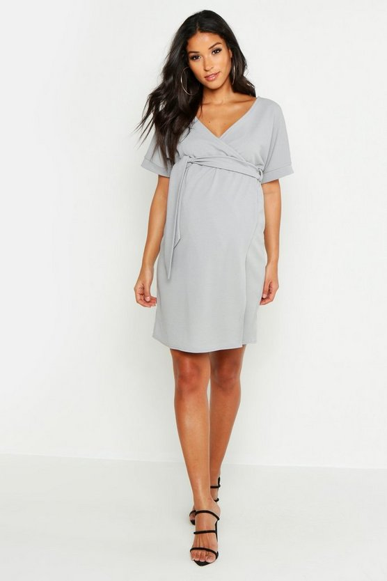Womens Grey Maternity Plunge Wrap Mini Dress