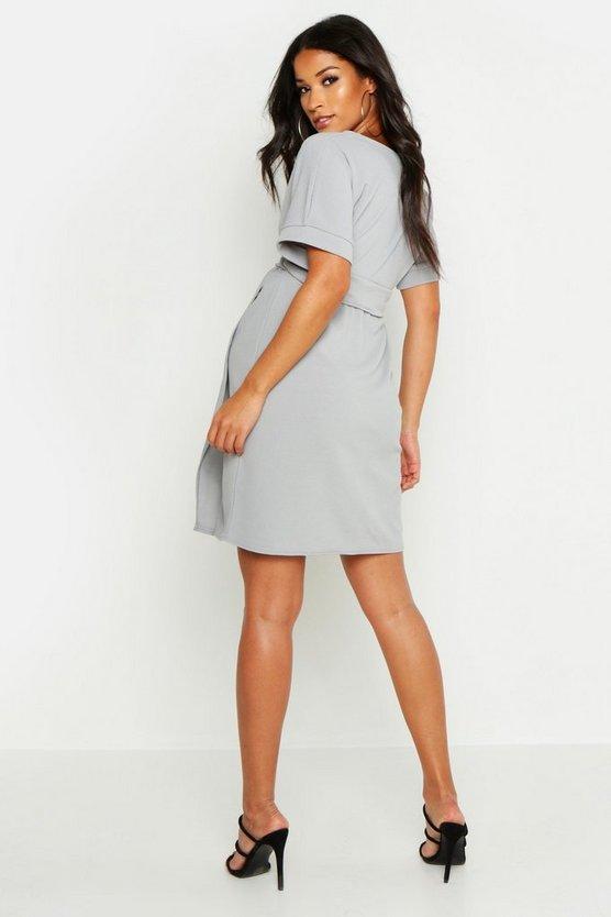 c681c7be9f ... Maternity Plunge Wrap Mini Dress