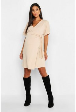 Womens Stone Maternity Plunge Wrap Mini Dress