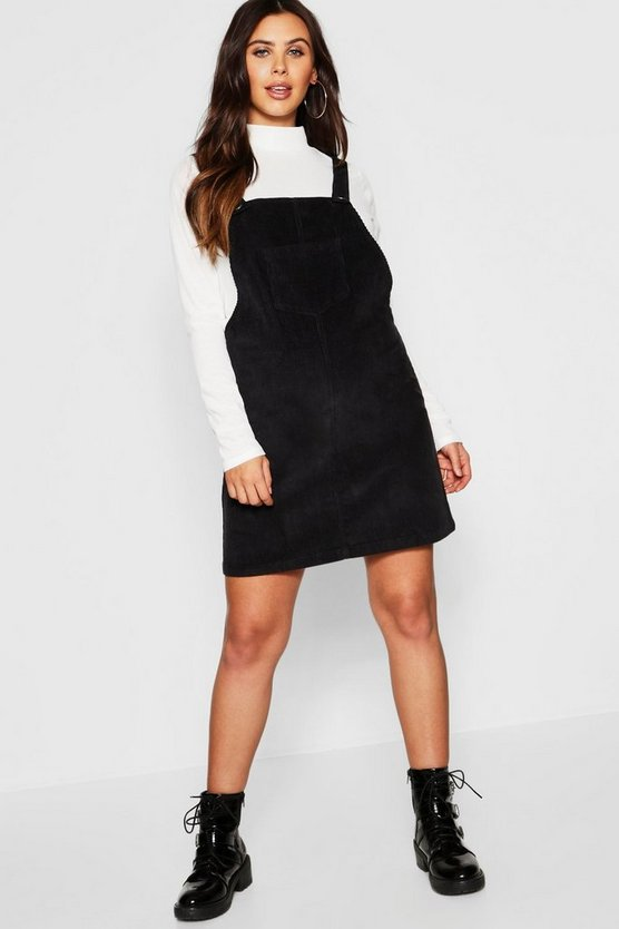 Womens Black Maternity Baby Cord Pinafore Dress