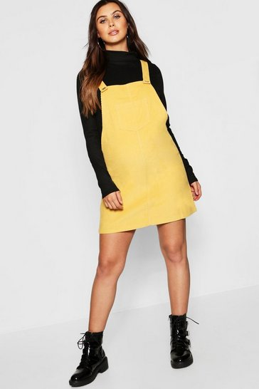 Womens Mustard Maternity Baby Cord Pinafore Dress