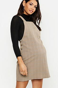 Vintage Style Maternity Clothes Maternity Check Grow With Me Pinafore Dress $36.00 AT vintagedancer.com