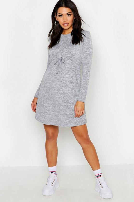 Womens Grey marl Maternity Draw Cord Waist Swing Dress