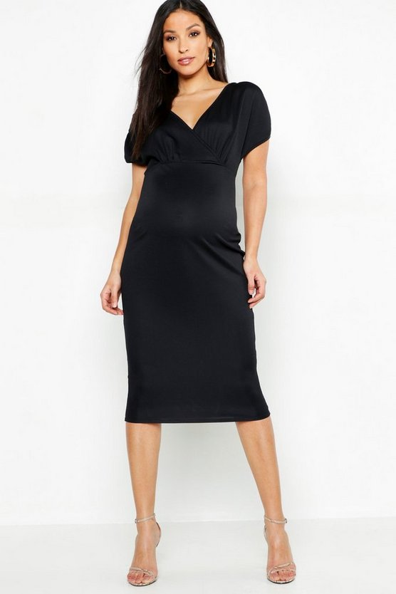 Womens Black Maternity Ruched Sleeve Wrap Front Midi Dress