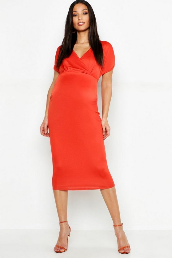 Maternity Ruched Sleeve Wrap Front Midi Dress