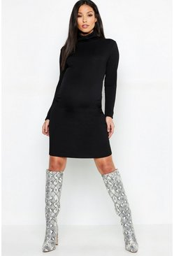 Black Maternity Rib Roll Neck Long Sleeve Midi Dress