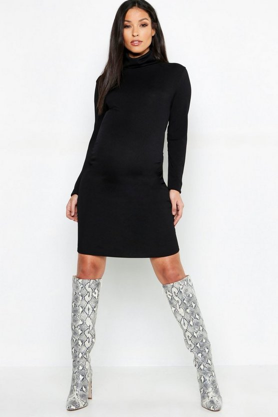 Womens Black Maternity Rib Roll Neck Long Sleeve Midi Dress