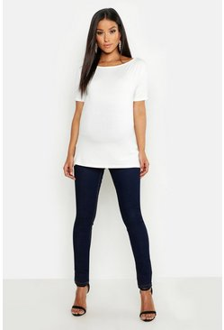 Womens Indigo Maternity Over The Bump Skinny Super Stretch Jean