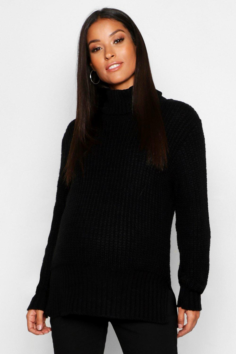 Maternity Roll Neck Split Seem Knitted Jumper
