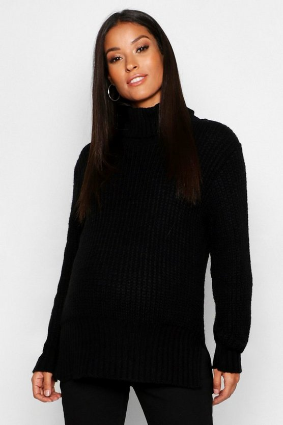 Maternity Roll Neck Split Seem Knitted Sweater