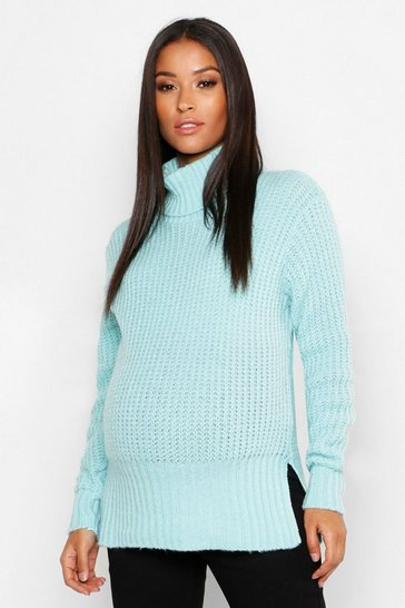 Womens Maternity Roll Neck Split Seem Knitted Jumper