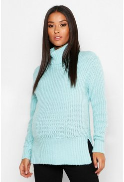 Womens Mint Maternity Roll Neck Split Seem Knitted Sweater