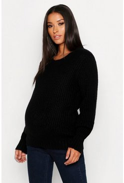 Womens Black Maternity Soft Knit Crew Neck Knitted Sweater