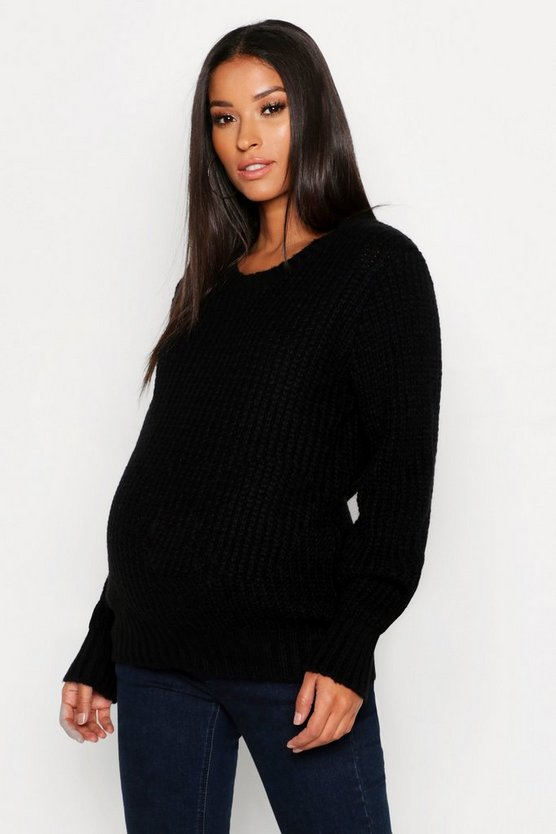 Womens Black Maternity Soft Knit Crew Neck Knitted Jumper