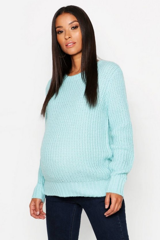 Womens Mint Maternity Soft Knit Crew Neck Knitted Sweater
