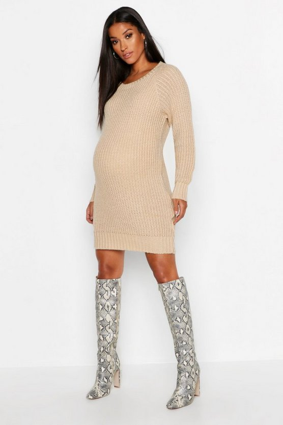 Womens Taupe Maternity Soft Knit Sweater Dress