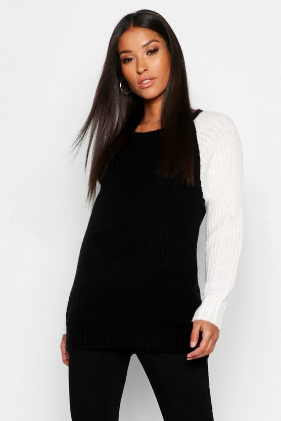 Womens Black Maternity Colour Block Knitted Jumper