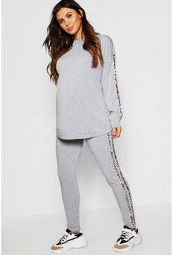 Grey marl Maternity Leopard Side Stripe Lounge Set
