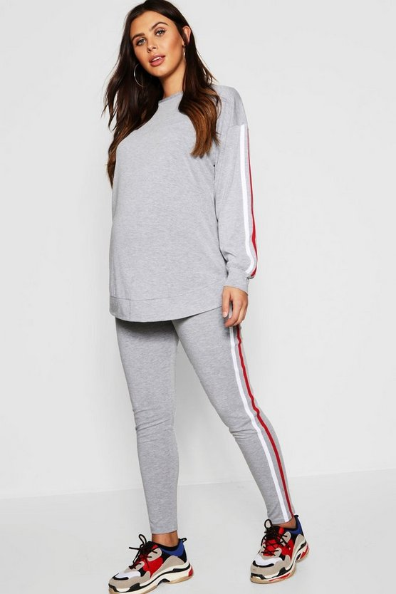 Womens Grey marl Maternity Multi Side Stripe Soft Lounge Set