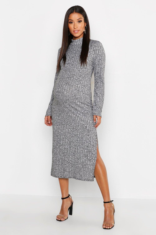 Maternity Twisted Rib Roll Neck Maxi Dress