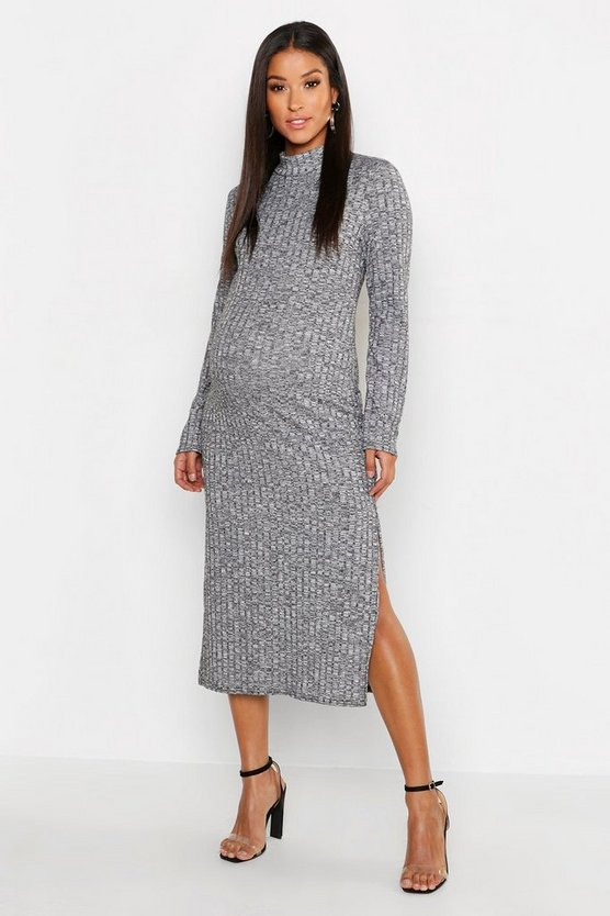 Maternity Twisted Rib Roll Neck Maxi Dress