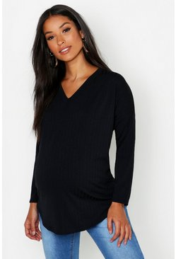 Womens Black Maternity Wide Rib V Neck Slouched T-Shirt