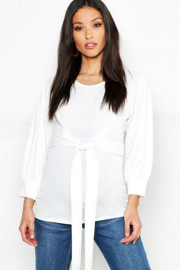 Womens Ivory Maternity Baloon Sleeve Tie Waist Blouse