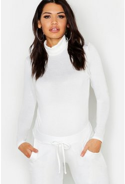 Womens Ivory Maternity Rib Roll Neck Bodysuit