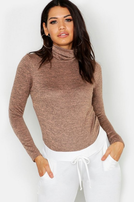 Womens Taupe Maternity Rib Roll Neck Bodysuit
