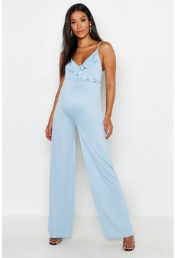 Womens Sky Maternity Frill Plunge Jumpsuit