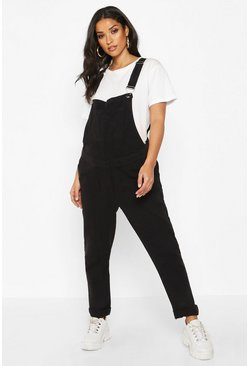 Womens Maternity Black Wash Dungaree